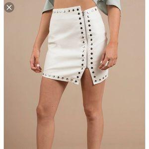 Tobi Croc Embossed Faux Leather Stud Skirt
